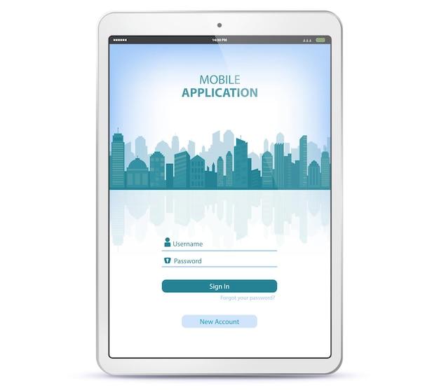 Tabletcomputer met aanmeldingsscherm voor toepassingen