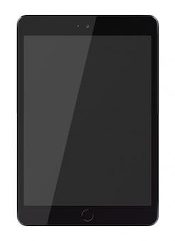 Tabletcomputer met het zwarte scherm dat op witte achtergrond wordt geïsoleerd.
