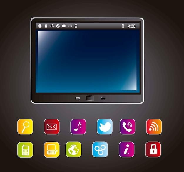 Tabletcomputer met kleurrijke pictogrammen over grijze achtergrondvector
