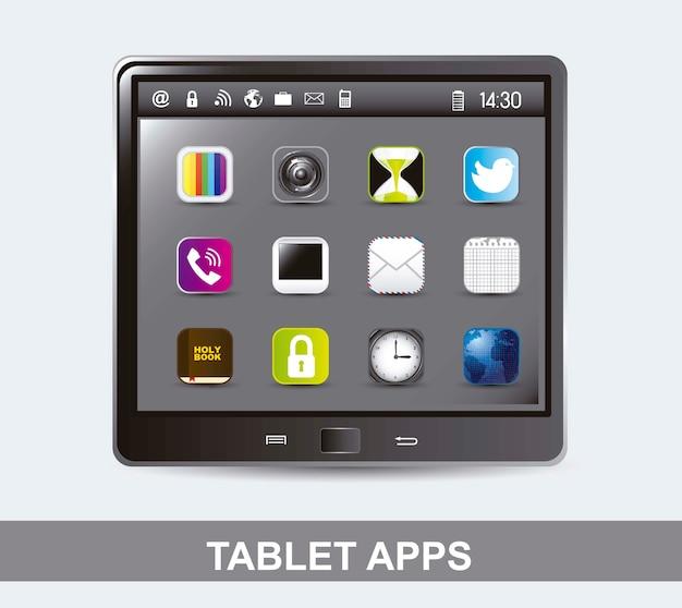 Tabletcomputer met pictogrammen van apps vectorillustratie