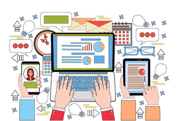 Tabletlaptop en slimme telefoon financiënkaart bedrijfsmensenhanden die aan gegevensrapport werken, de documenten van statistiekdocumenten bureauwerkplaats