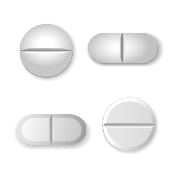 Tabletten en pillen vector set geïsoleerd Premium Vector