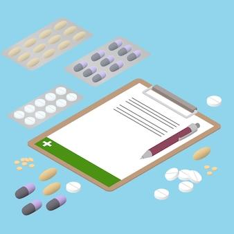 Tabletten in verschillende vormen. plat isometrisch. het voorschrijven van antibiotica. pillen in het pakket. medicatie. pillen en capsules. vectorillustratie.