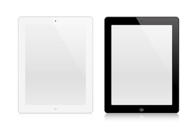 Tabletten wit en zwart geïsoleerd op wit