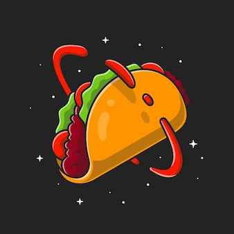 Taco cartoon planet. flat cartoon stijl