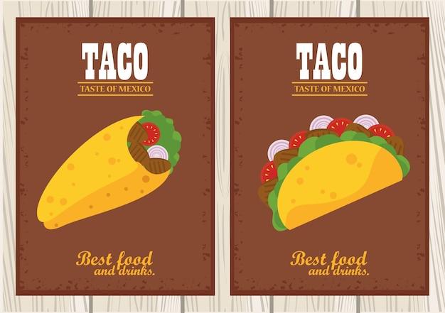 Taco dag viering mexicaanse poster met taco's en belettering op houten achtergrond.