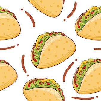 Taco fast food naadloze patroon in platte ontwerpstijl
