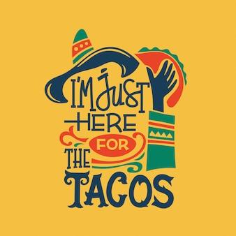 Taco gerelateerde quote hand schrijven illustratie