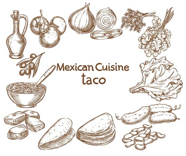 Taco-ingrediënten van het eten