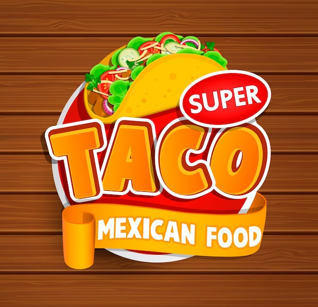 Taco label, logo, sticker.