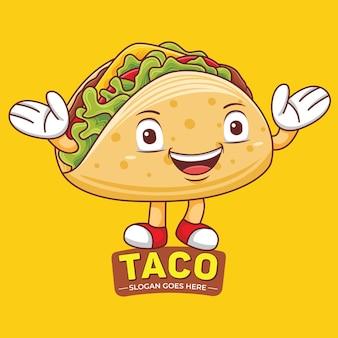 Taco mascot-logo in platte ontwerpstijl