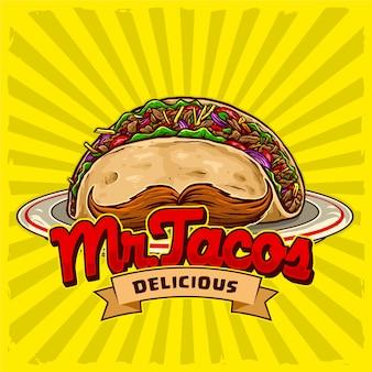 Taco's met snor in de plaat voor fastfood van straatvoedsel en het logo van het junkfoodrestaurant