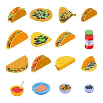 Taco's pictogrammen instellen. isometrische set van taco's pictogrammen voor webdesign geïsoleerd op een witte achtergrond
