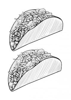 Tacos hand getrokken
