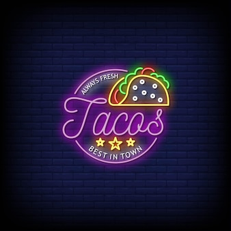Tacos logo neon signs style text