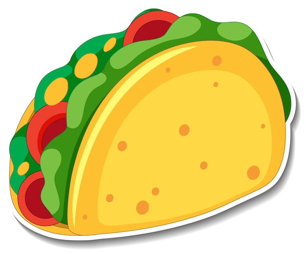 Tacosticker op witte achtergrond