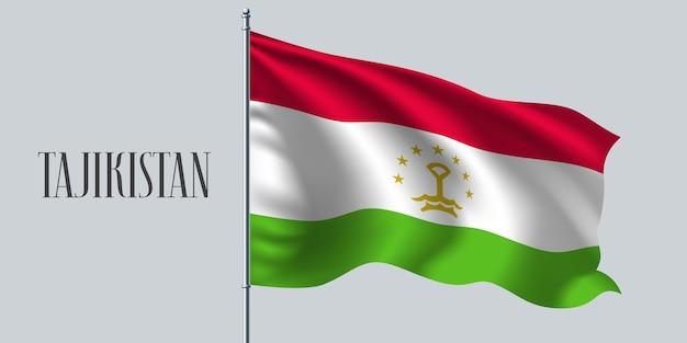 Tadzjikistan wapperende vlag op vlaggenmast.