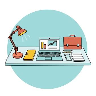 Tafel en kantoorbenodigdheden erop. llustration van tafel, kantoorbenodigdheden, laptoplamp, spullen