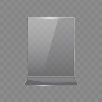 Tafel in acryl, displaystandaards van transparant glas