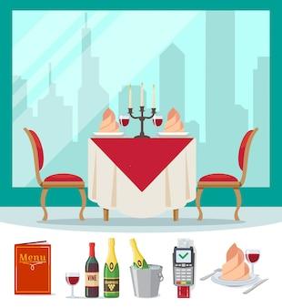 Tafel in restaurant geserveerd in vlakke stijl café.