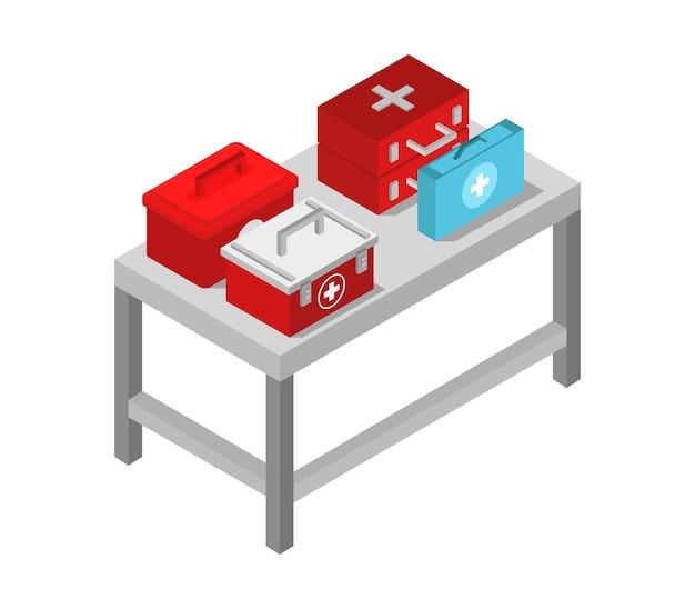 Tafel met isometrische medische tas