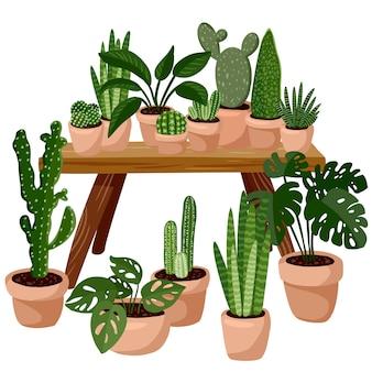 Tafel met succulente potplanten erop. home lagom decoratie. gezellig seizoen. modern appartement ingericht in hygge-stijl. vector geïsoleerd beeld