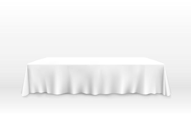 Tafel met tafelkleed kunst banner. vector illustratie