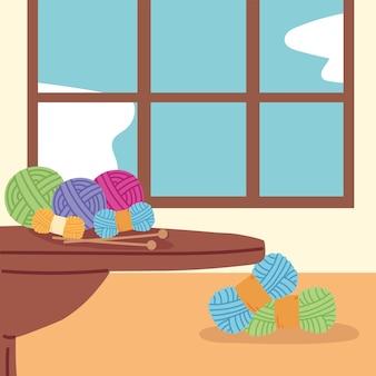 Tafel met wollen naalden