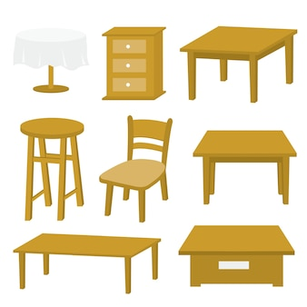 Tafel stoel meubilair hout vector ontwerp