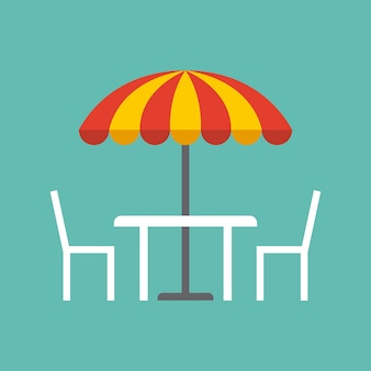 Tafel, stoelen en parasol