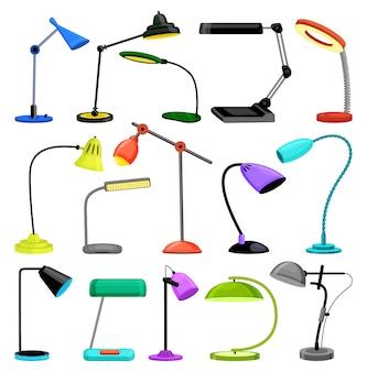 Tafellamp geïsoleerd cartoon ingesteld pictogram. bureaulamp van het beeldverhaal het vastgestelde pictogram.