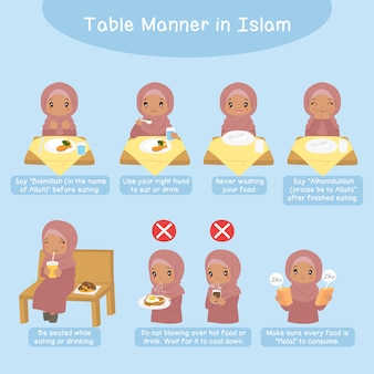 Tafelmanier in de islam, moslim afro-amerikaans meisje. begeleiding volgens de islamitische tafel