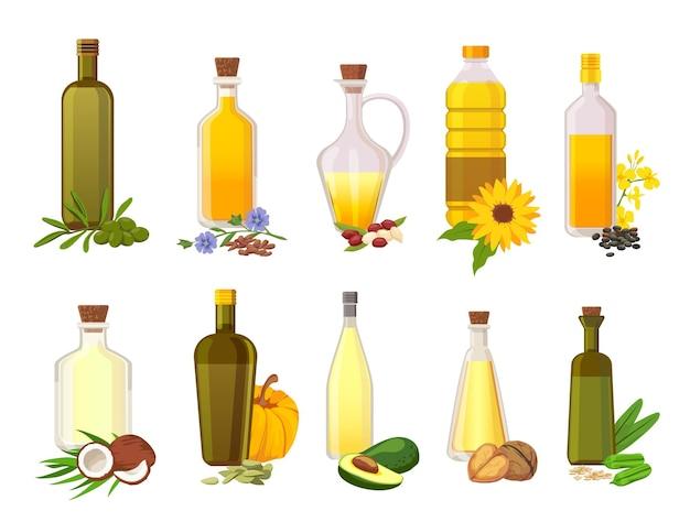 Tafelolie flessen. natuurlijke plantaardige, olijf-, zonnebloem-, avocado- en kokosnootvergine biologische oliën in glas met ingrediëntenplanten vectorset