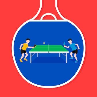 Tafeltennis concept illustratie met spelers
