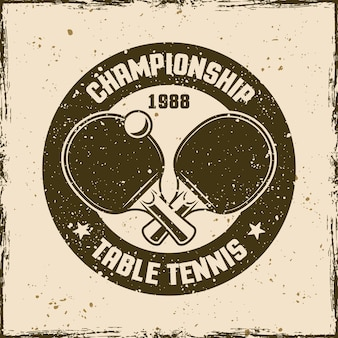Tafeltennis vintage ronde embleem, label, badge of logo. vectorillustratie op achtergrond met verwijderbare grunge-texturen