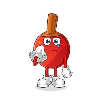 Tafeltennisbatje huilen met een tissue-karakter.