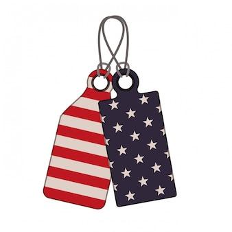 Tag met de vlag van verenigde staten
