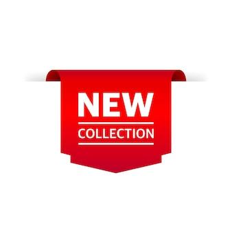 Tag nieuwe collectie. lint verkoop label banner geïsoleerd. gouden kleur. vector illustratie.