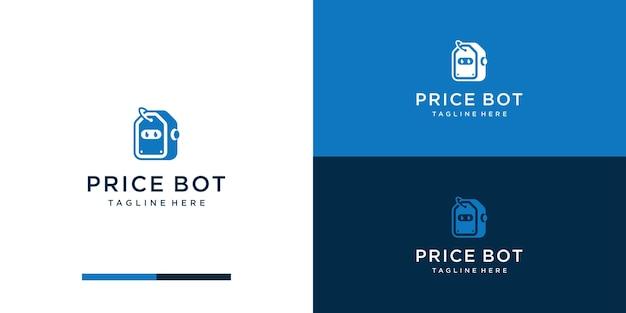 Tag prijs logo met robot logo sjabloon