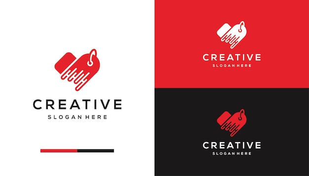 Tag prijs, winkel logo ontwerpsjabloon
