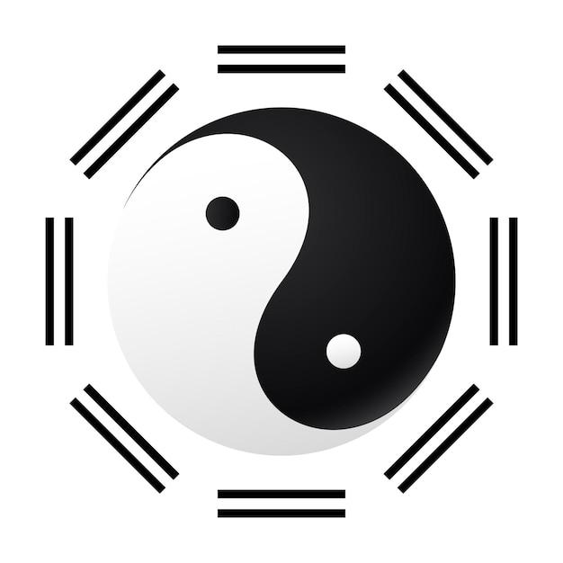 Taijitu-symbool zwart-wit yin yang op een witte achtergrond