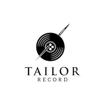 Tailor naai-naald met vinyl record logo ontwerp inspiratie