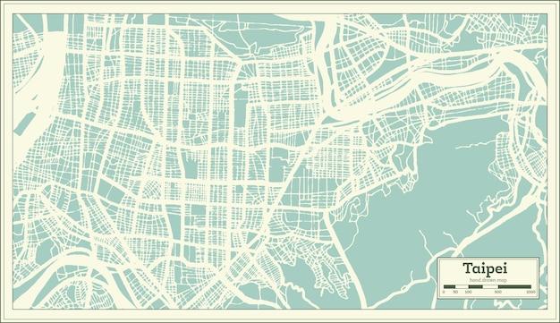 Taipei taiwan stadsplattegrond in retro stijl. overzicht kaart. vectorillustratie.