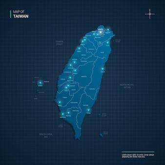 Taiwan kaart met blauwe neonlichtpunten