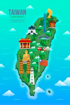 Taiwan kaart met geïllustreerde oriëntatiepunten
