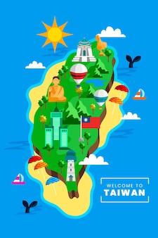 Taiwan kaart met monumenten
