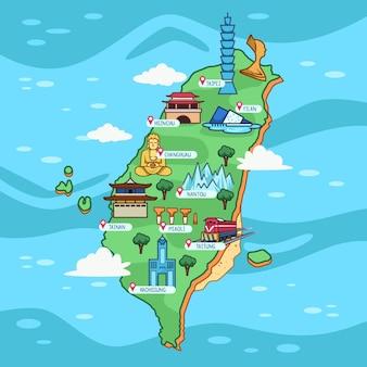 Taiwan kaart met oriëntatiepunten