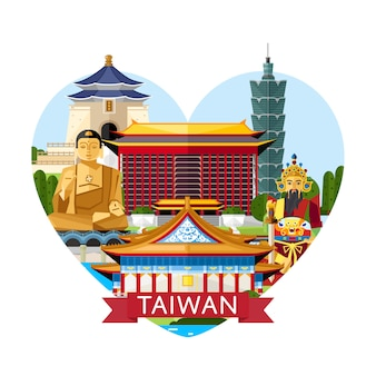 Taiwan reisconcept met beroemde attracties