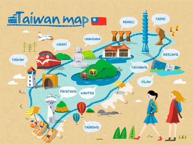 Taiwan reiskaart, alle engelse versie, ontspannende stijl