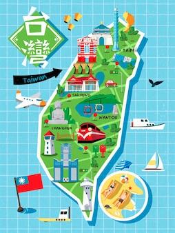 Taiwan reiskaart, met chinese karakters die taiwan linksboven schrijven, sun moon lake op de stele en the redhouse op het rode gebouw